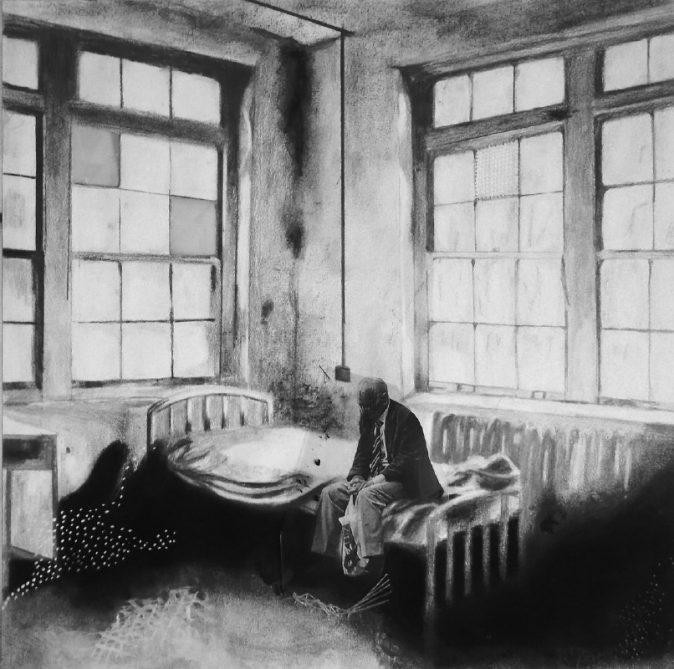O Fantasma sai de cena, 2014 [Desenho e técnica mista, 49x49 cm]